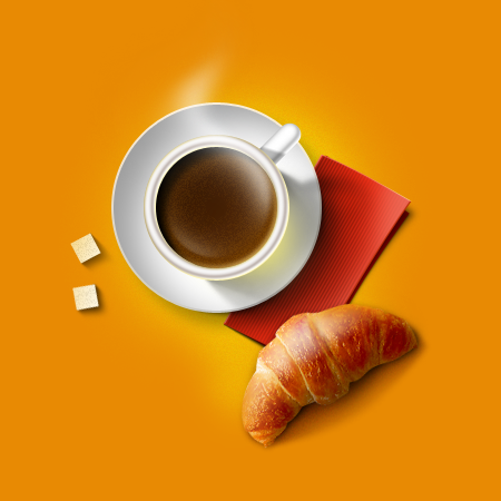 Рисуем чашку кофе: http://www.pixelbox.ru/blog/photoshop-tutorials/839.html