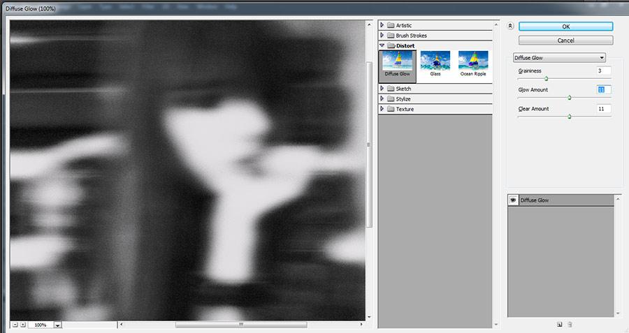 фильтр в фотошопе diffuse glow - рассеянный свет