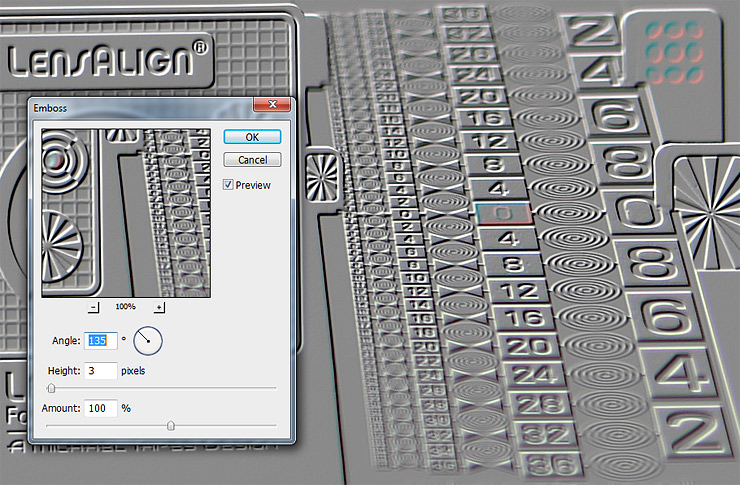 фильтр emboss тиснение в фотошопе
