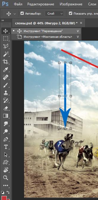 инструмент перемещение в фотошопе. чтобы переместить стрелку