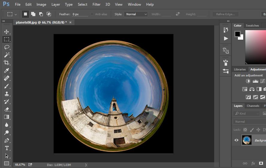 фильтр сфера spherize в фотошопе