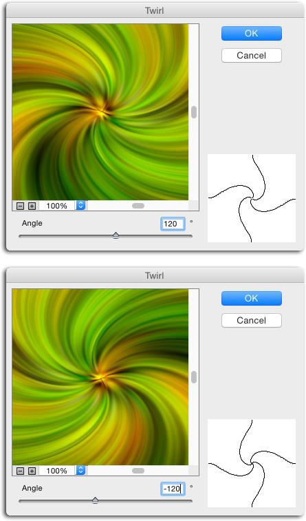 фильтр скручивание twirl в photoshop