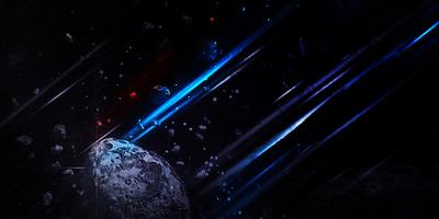 Энергетические лазерные лучи в космосе с метеоритами