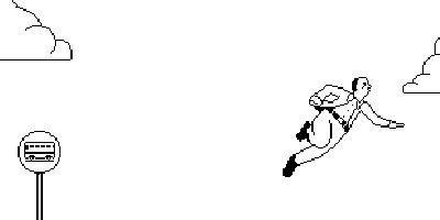 Пиксельный летающий человечек