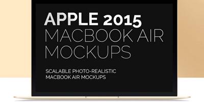 PSD - 16 мокапов с макбуком Apple Air 2015
