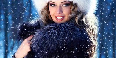 Шаблон для фото - Девушка в шубе зимой