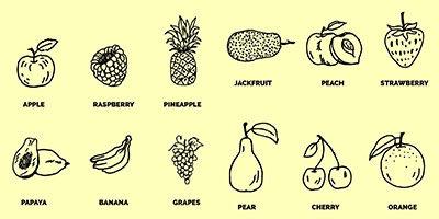PSD исходник - 15 векторных фруктов