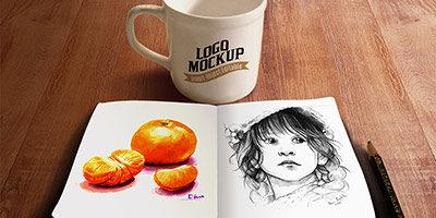Кружка кофе и скетч книжка
