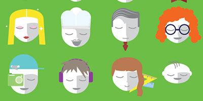 Иконки векторных лиц людей